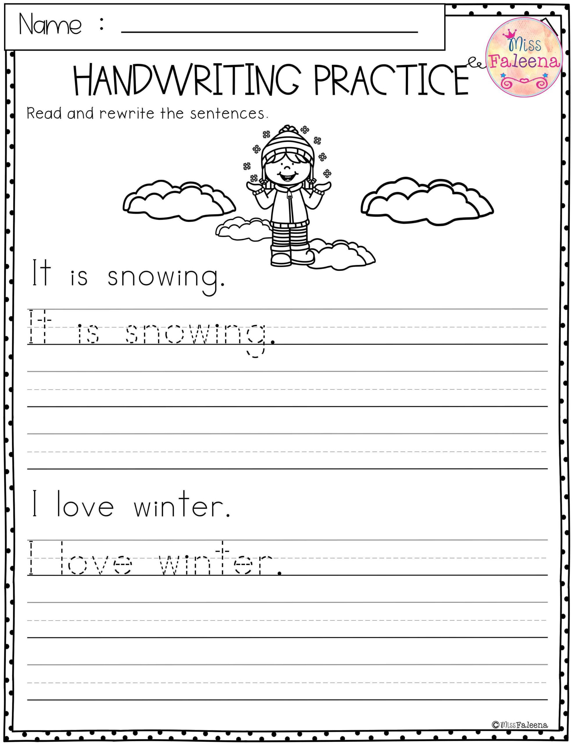 winter handwriting practice writing sentences best sentence practise tracing worksheets for scaled
