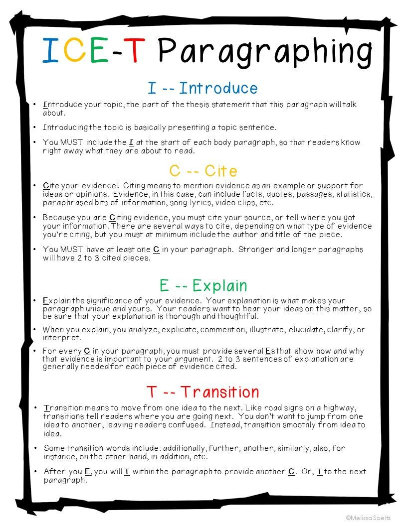 Sentence Writing Strategy Worksheets Ice T Paragraph Strategy