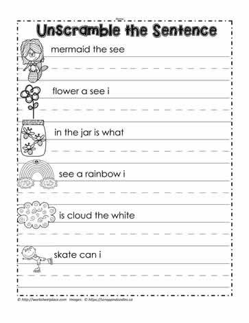 Unscramble the Sentence Worksheets