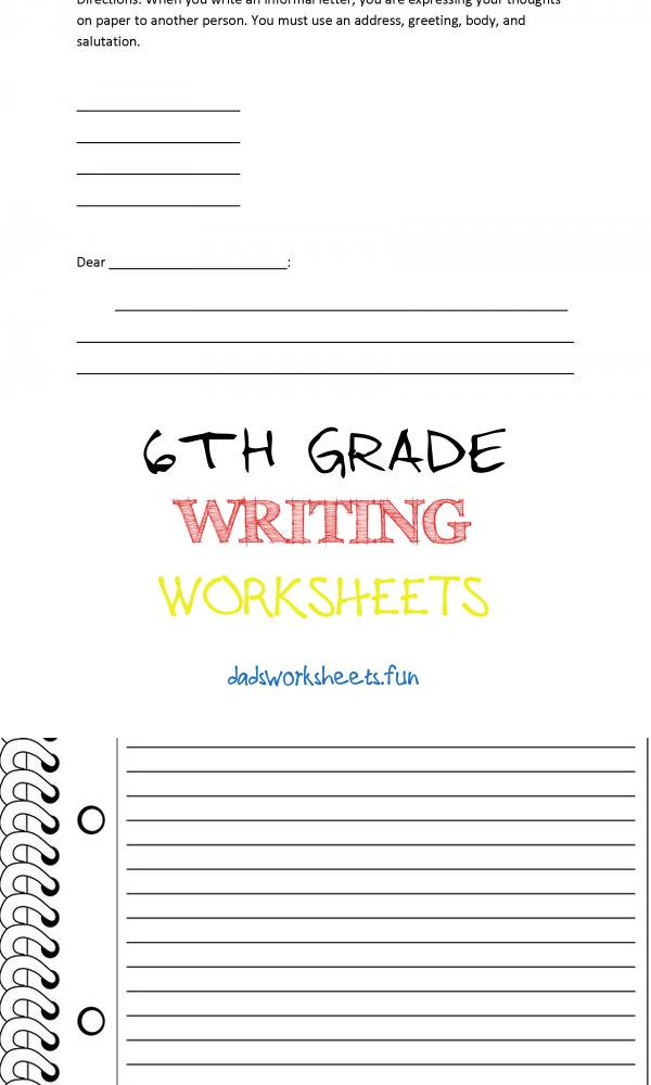 6th grade writing worksheets letter format for 6th graders of 6th grade writing worksheets pin