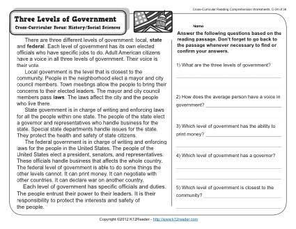 three levels of government 3rd grade reading prehension worksheet