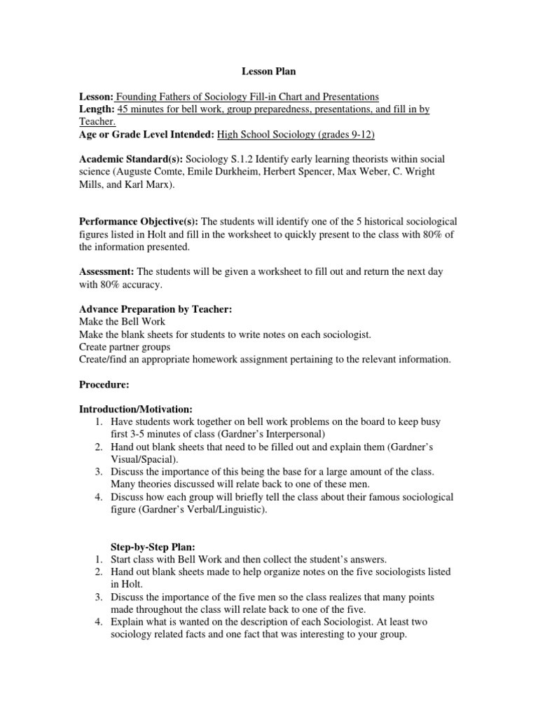 Sociology Worksheets High School Ed Psych Lesson Plan[1] sociology