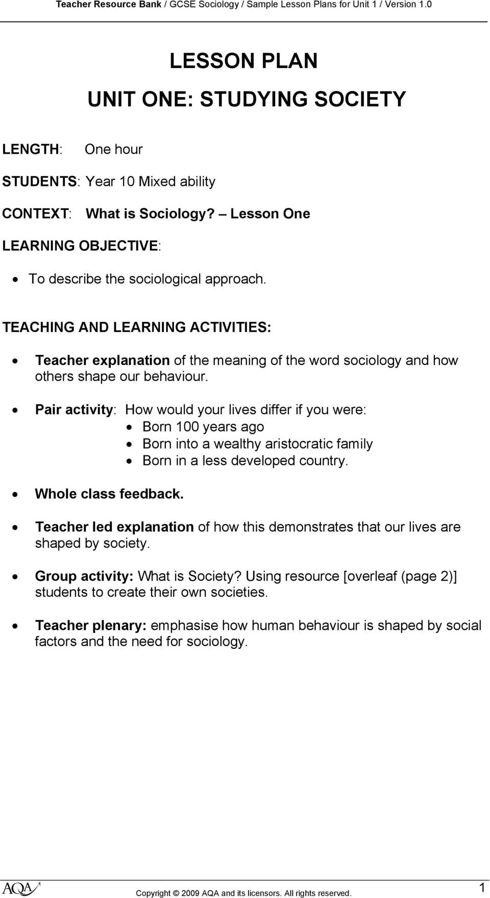 Sociology Worksheets High School Gcse sociology Sample Lesson Plans for Unit 1 Studying