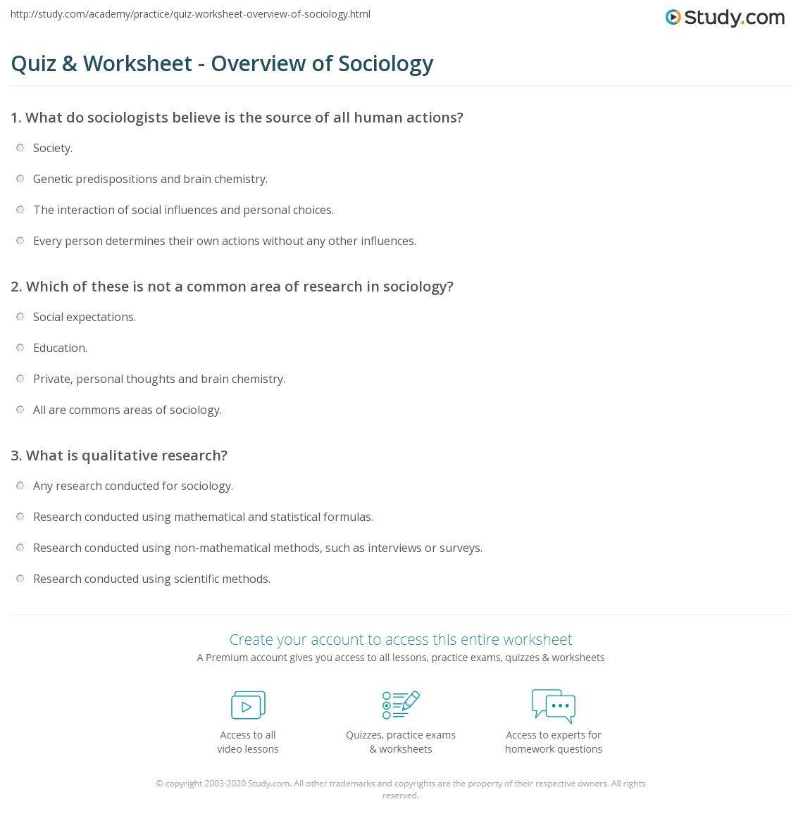 Sociology Worksheets High School Quiz & Worksheet Overview Of sociology