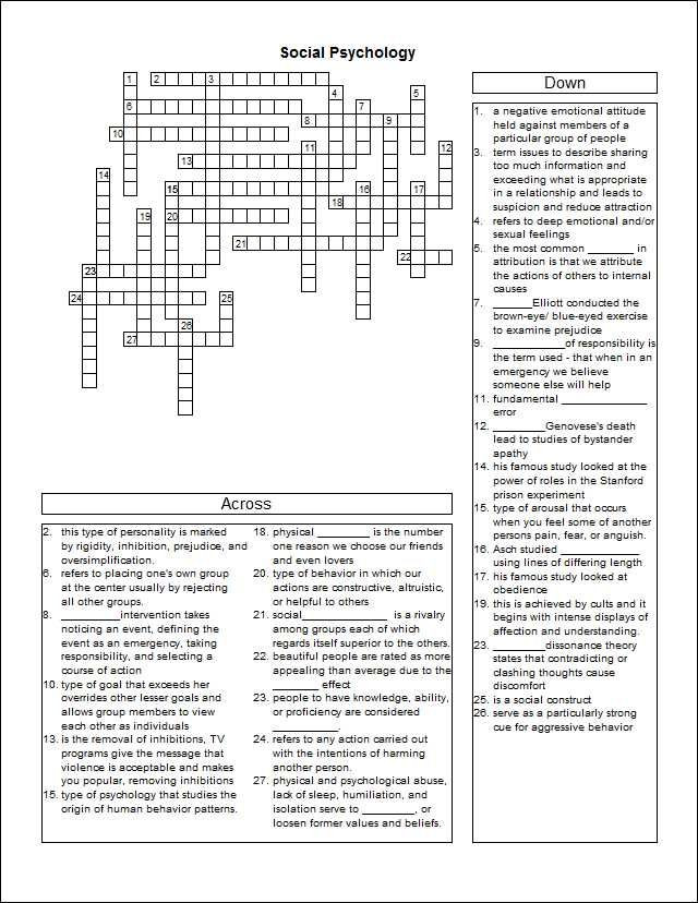 Sociology Worksheets High School sociology Study Crossword Puzzle