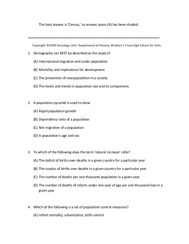 Sociology Worksheets High School Uppers Six sociology Multiple Choice 2009
