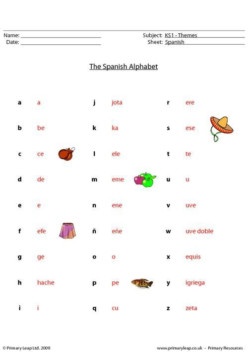 Spanish Alphabet Practice Worksheet Primaryleap Spanish Alphabet Worksheet with