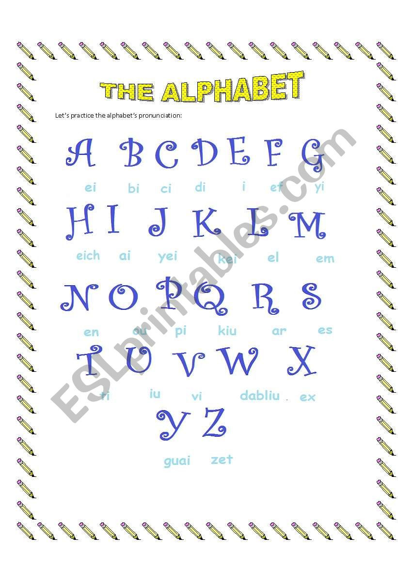 Spanish Alphabet Pronunciation Worksheet Splendi Alphabet In Spanish Worksheetshe Esl Worksheet by