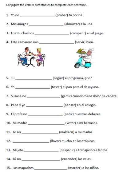Spanish Worksheets High School Free Stem Changing Verbs Worksheets