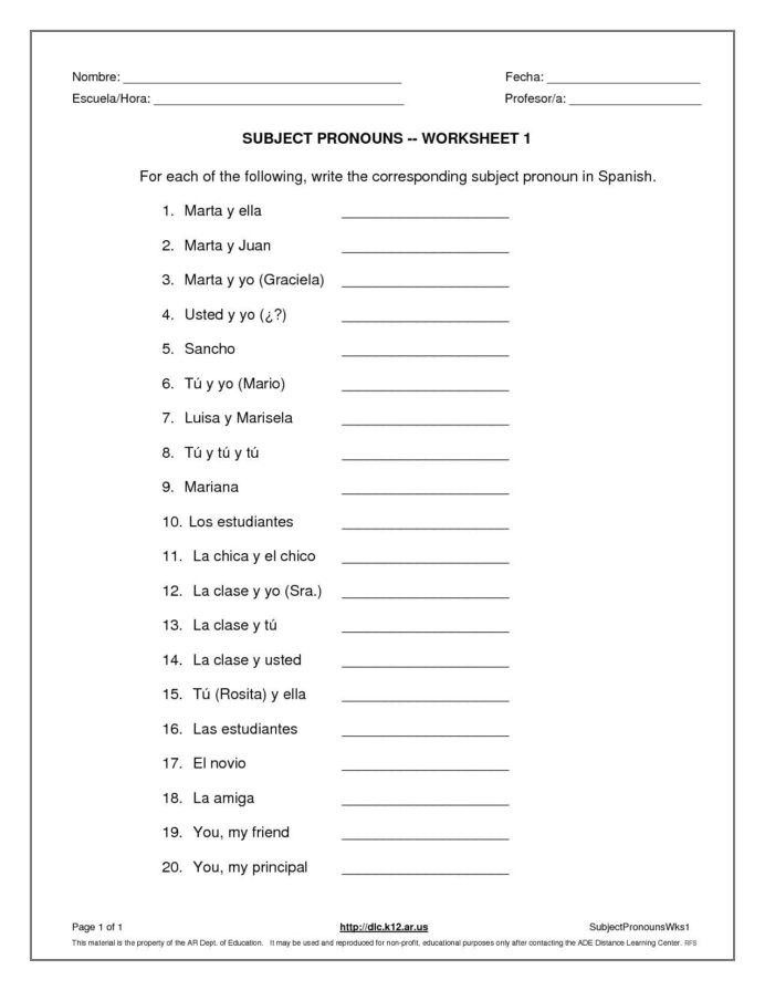 Spanish Worksheets High School Subject Pronouns Worksheet Spanish Answer Worksheets and