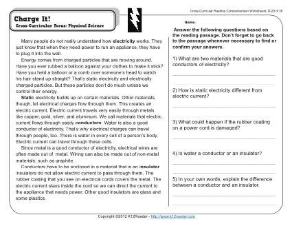 Static Electricity Worksheet 4th Grade Charge It
