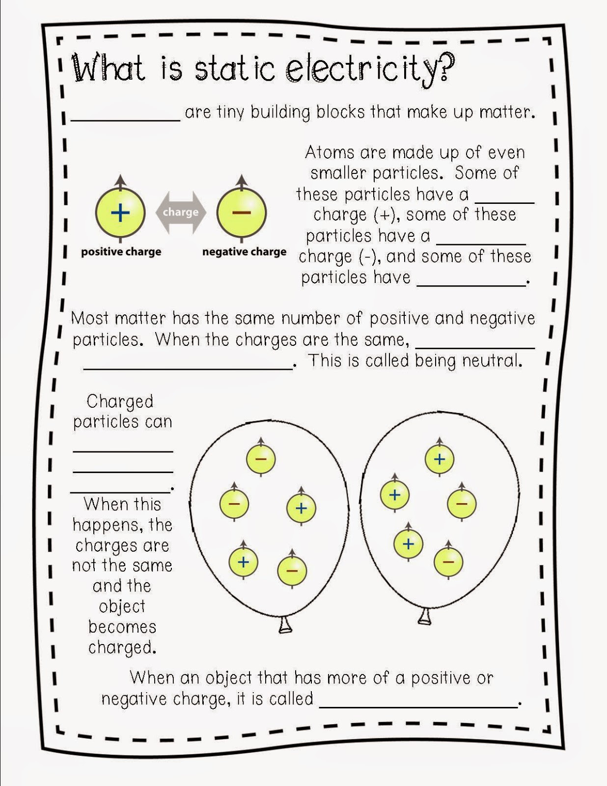Static Electricity Worksheet 4th Grade Electricity Year 4 Worksheets