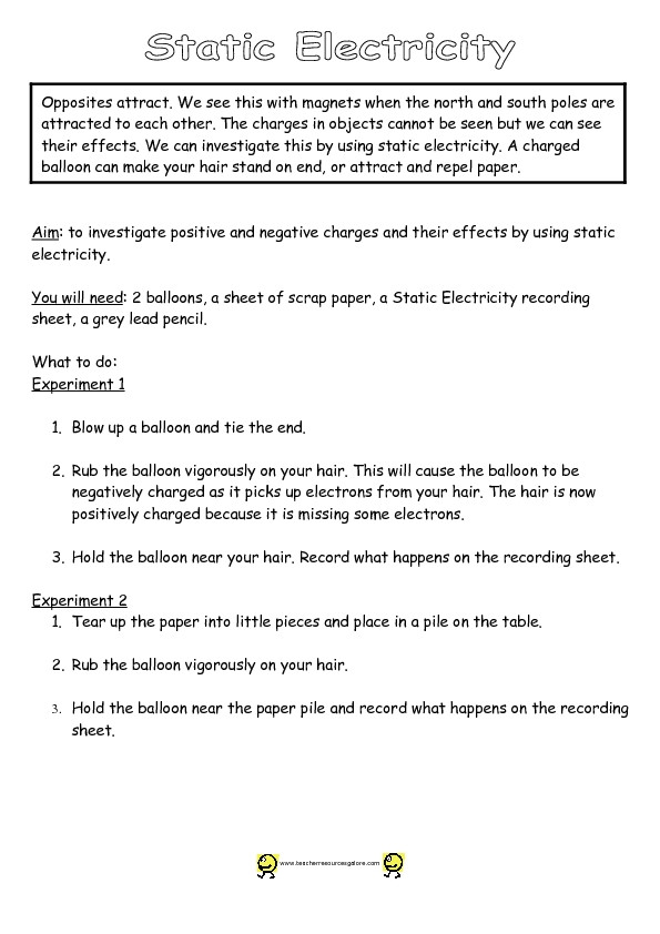 Static Electricity Worksheet 4th Grade Investigating Static Electricity Graphic organizer for 2nd