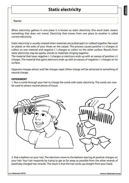 Static Electricity Worksheet 4th Grade Members Ly E Classroom