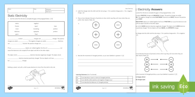 Static Electricity Worksheet 4th Grade Static Electricity for Kids Science Worksheet Year