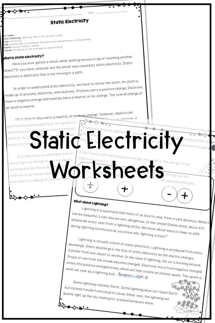 Static Electricity Worksheet 4th Grade Static Electricity Reading Activity