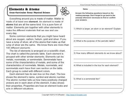Story Elements Worksheet 3rd Grade Elements and atoms