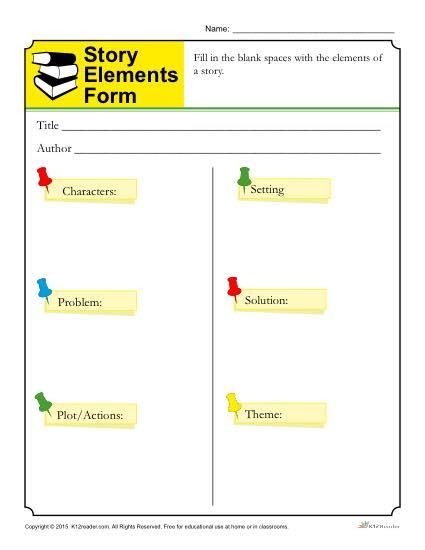 Story Elements Worksheet 3rd Grade Story Elements form Template for Students