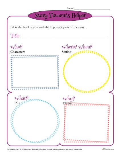 Story Elements Worksheet 3rd Grade Story Elements Helper form Template for Students