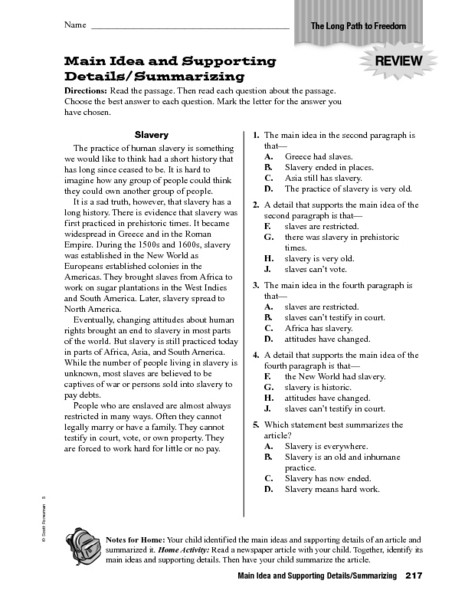 Summary Worksheet 3rd Grade Main Idea and Supporting Details Summarizing Worksheet for