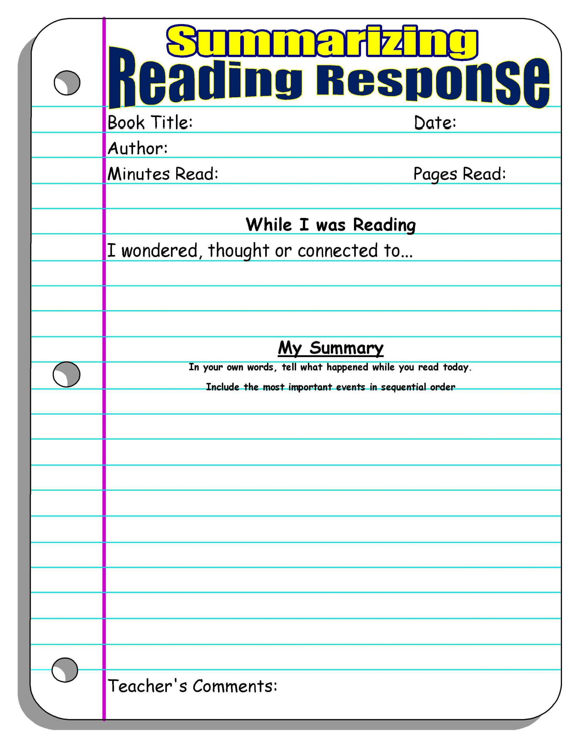 Summary Worksheet 3rd Grade Reading Response forms and Graphic organizers