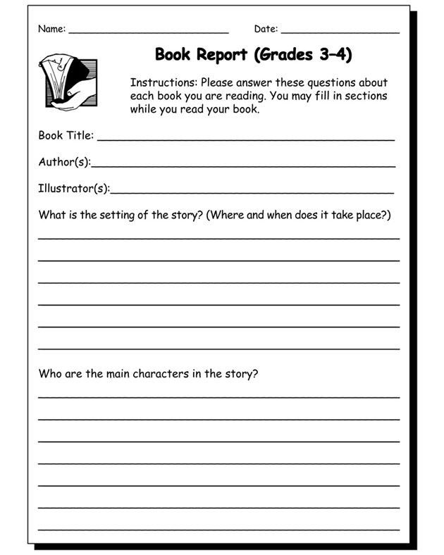 Summary Worksheets 3rd Grade Book Report Worksheet Grades 3 and 4