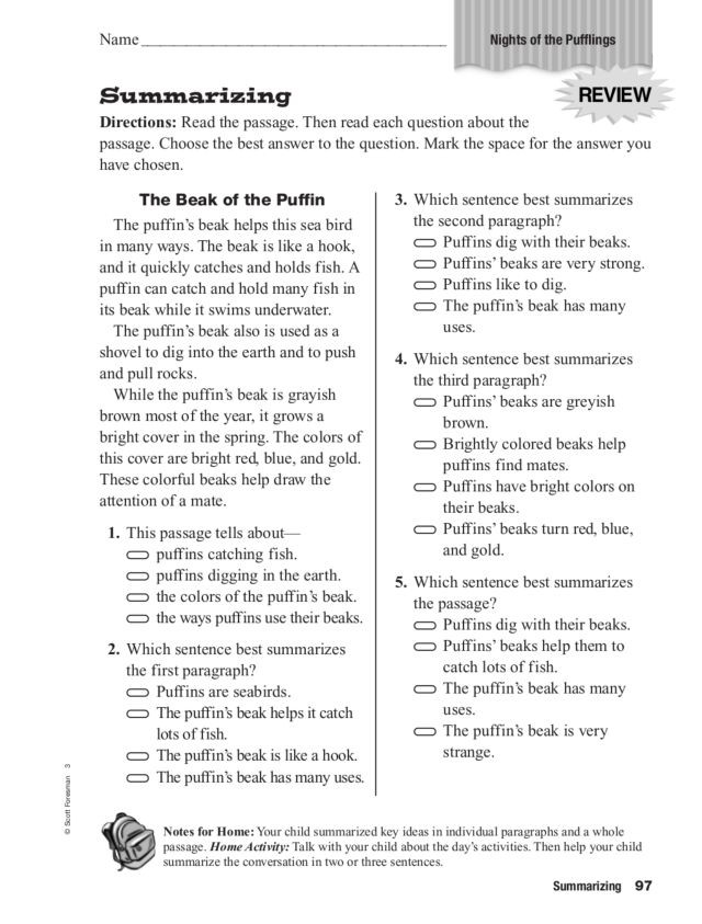 """Summary Worksheets 3rd Grade Summarizing """"night Of the Pufflings"""" Worksheet for 2nd"""