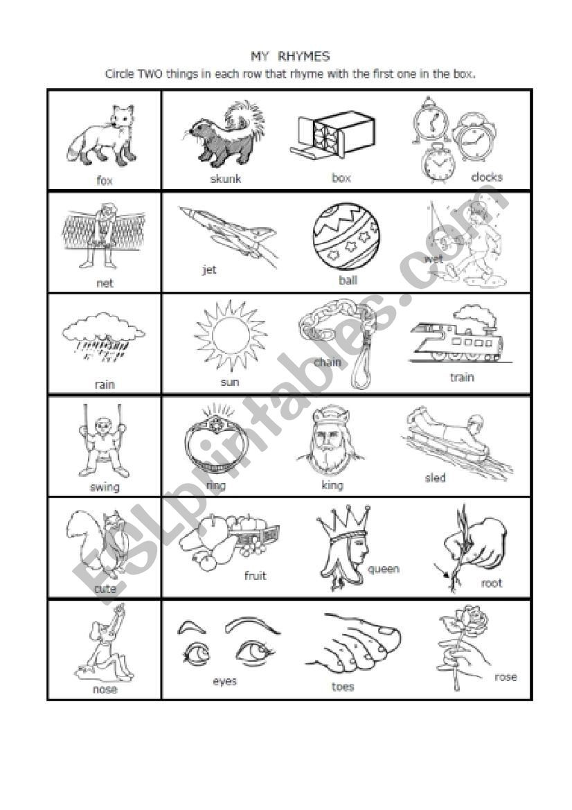 Syllable Worksheets First Grade Math Worksheet Syllable Rhymes 1st Grade Esl Worksheet by