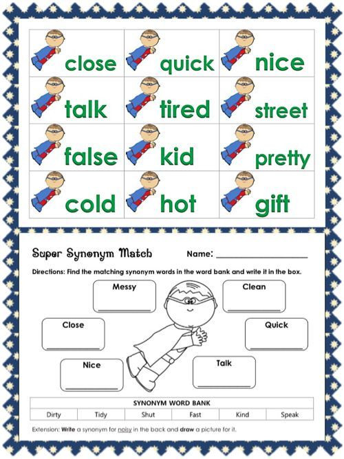 Synonym Worksheet First Grade Super Synonyms Literacy Centers and Worksheets