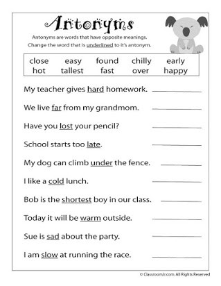 Synonym Worksheets First Grade Free Antonym Worksheets for Middle School