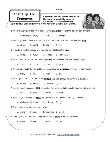 Synonym Worksheets First Grade Identify the Synonym