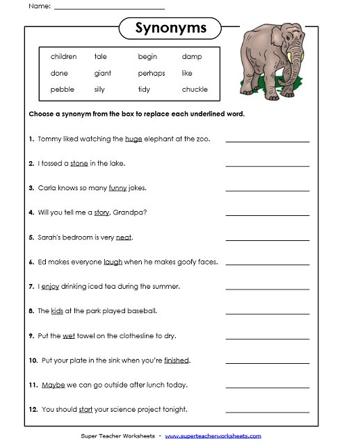 Synonym Worksheets First Grade Synonyms and Antonyms Worksheets 4th Grade Worksheet Math