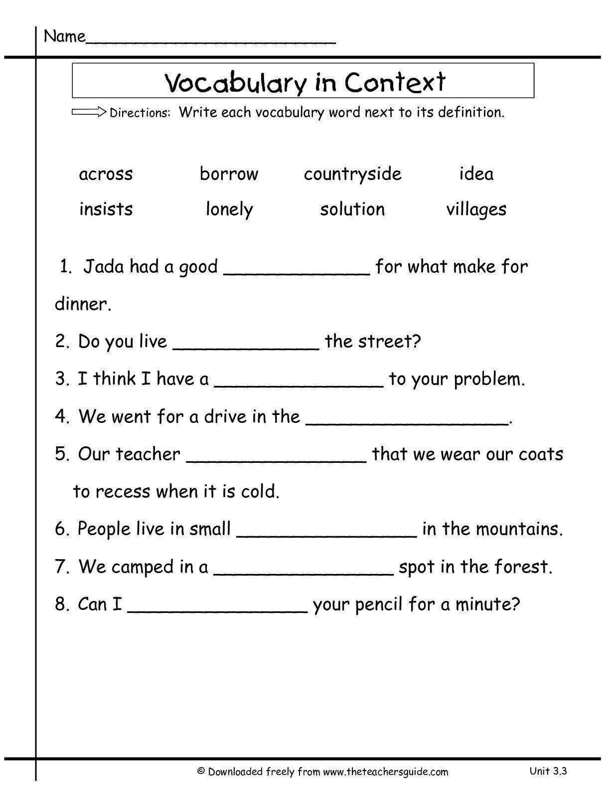 Synonym Worksheets First Grade Synonyms Context Worksheet