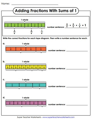 Tape Diagram Worksheet 4th Grade Adding Fractions & Mixed Numbers Worksheets