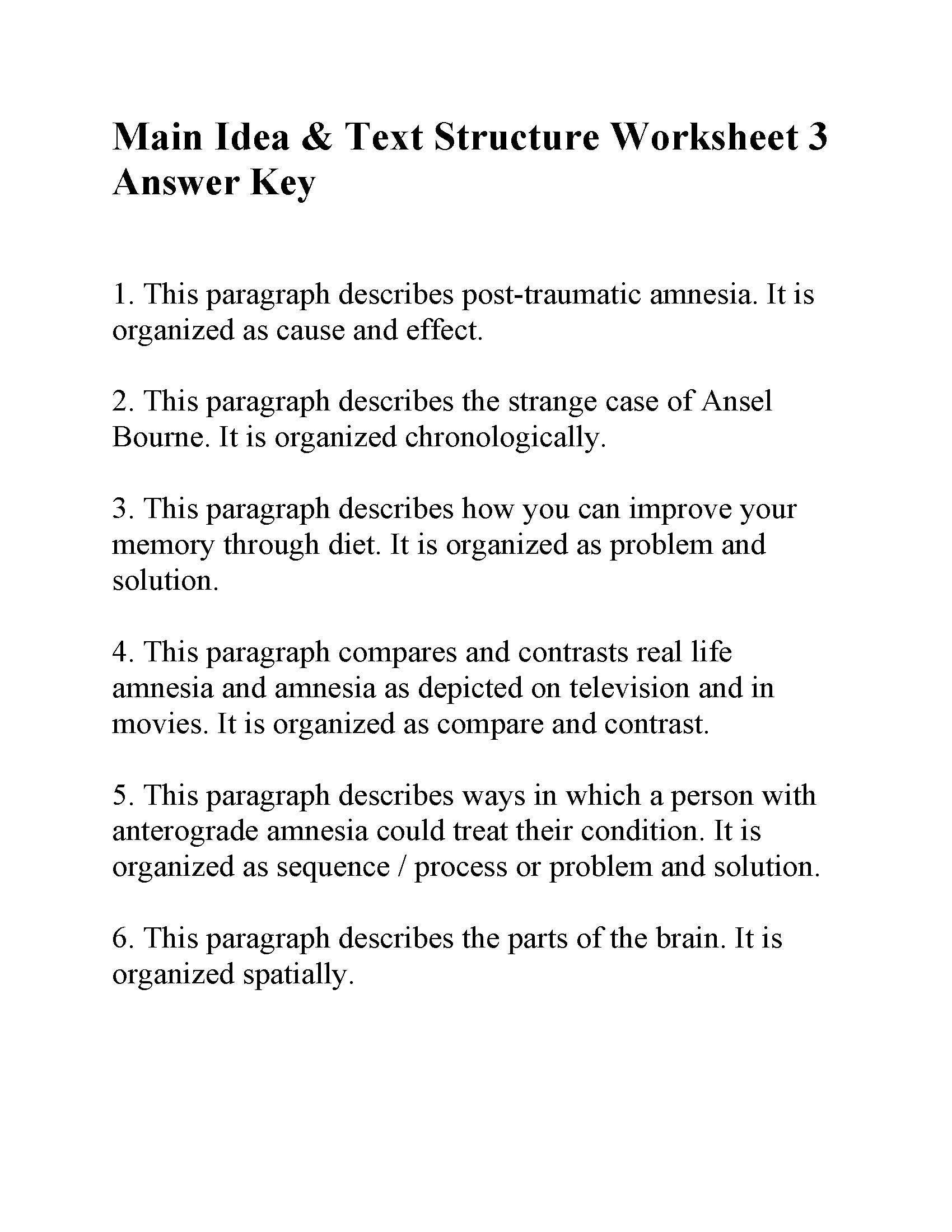 Text Structure Worksheet 3rd Grade Main Idea and Text Structure Worksheet 3