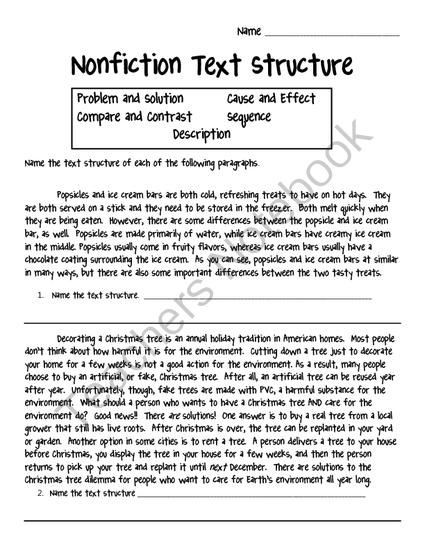 Text Structure Worksheet 3rd Grade Nonfiction Text Structure Worksheet