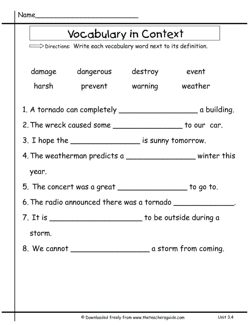 3rd grade vocabulary worksheets for educations 3rd grade 3