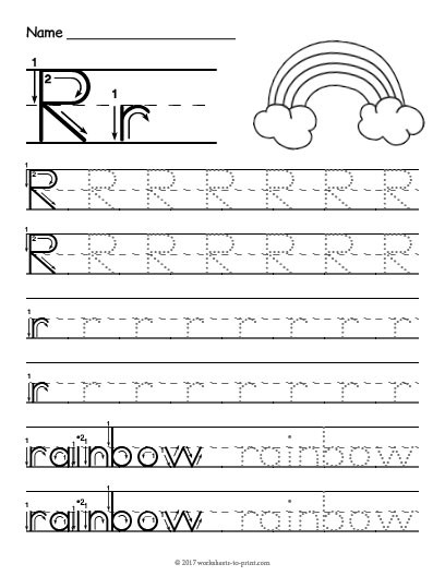 tracing letter r worksheettml