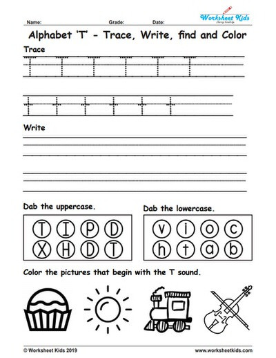 The Letter T Worksheet Alphabet Letter T Trace Write Find Color Free Printable Pdf