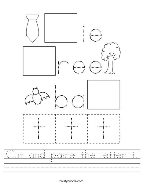 The Letter T Worksheet Cut and Paste the Letter T Worksheet Twisty Noodle