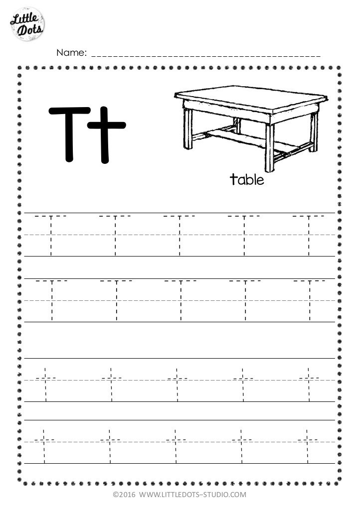 The Letter T Worksheet Free Letter T Tracing Worksheets