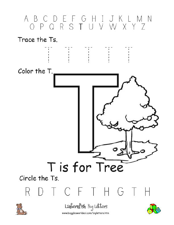 The Letter T Worksheet Letter T Alphabet Worksheets