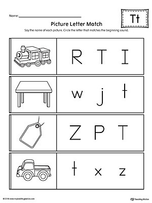 The Letter T Worksheet Picture Letter Match Letter T Worksheet
