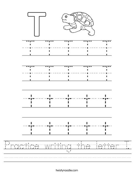 The Letter T Worksheet Practice Writing the Letter T Worksheet Twisty Noodle