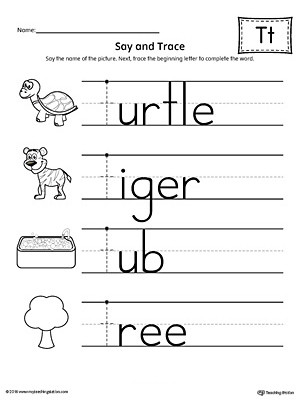 The Letter T Worksheet Say and Trace Letter T Beginning sound Words Worksheet