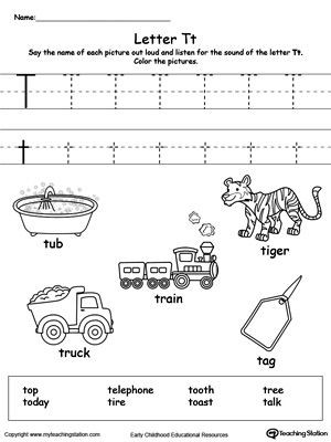 The Letter T Worksheet Words Starting with Letter T