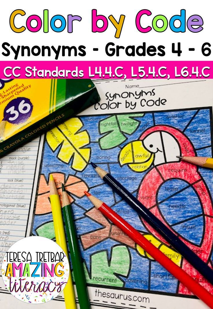 Thesaurus Worksheets 4th Grade Increase Vocabulary with Color by Code Synonym Worksheets
