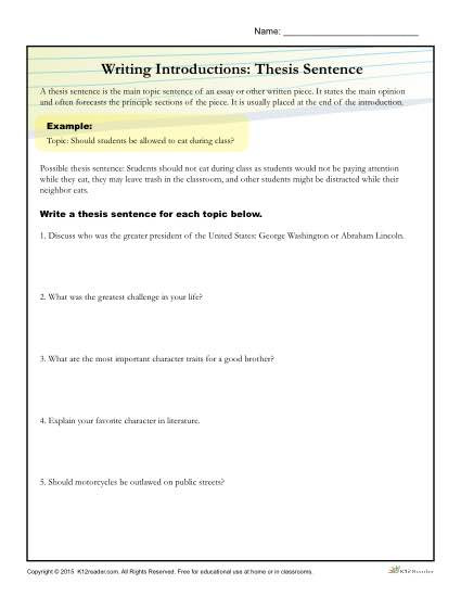 Thesis Statement Worksheet High School How to Write A thesis Statement Worksheet Activity