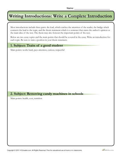 Thesis Statement Worksheet High School How to Write An Introduction Write A Plete Introduction