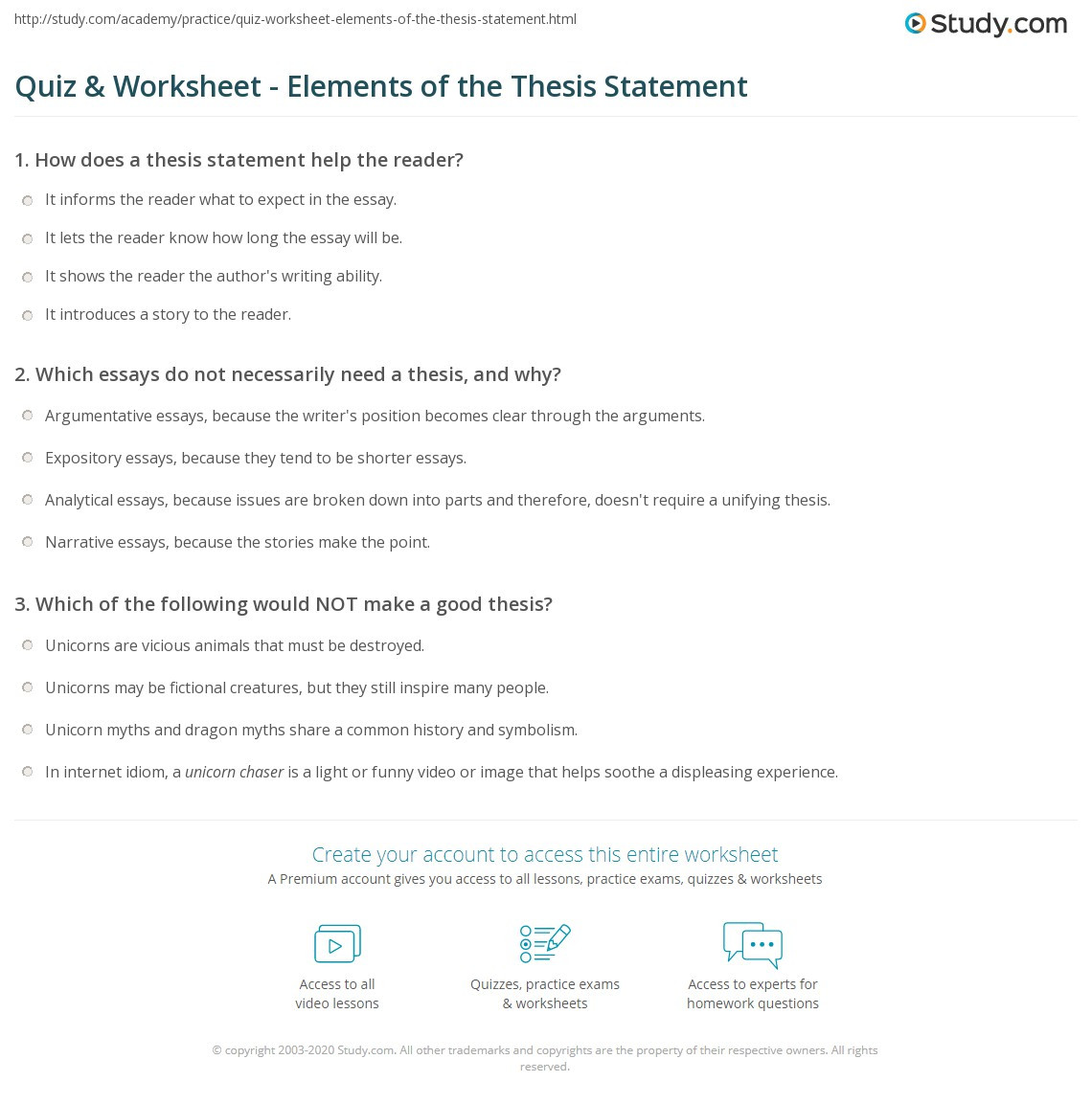 Thesis Statement Worksheet High School Quiz & Worksheet Elements Of the thesis Statement